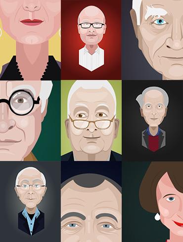 portraits de philosophes et sociologues pour Millénaire 3